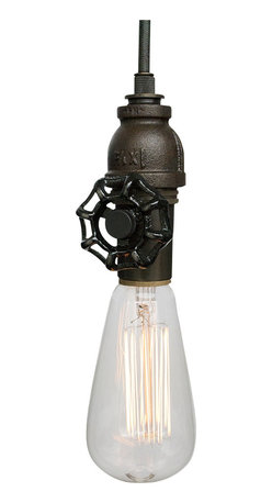 Hammers & Heels - Vintage Upcycled Valve Pipe Pendant Light - Oil Rubbed Bronze - INDUSTRIAL VINTAGE VALVE PENDANT LIGHTING