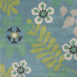 Jaipur Rugs - Hand-Tufted Floral Pattern Wool Blue/Green Area Rug ( 5X8 ) - Whimsical flowers, patterns and colors define this wool tufted range.