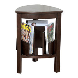 "Signature Design by Ashley - 25"" Height x 18.5"" Width x 18.5"" Depth - The Larimer table is designed with the function in mind. Its dark brown finish paired with a triangle design and three magazine holders. Function, simplicity, and style all in one!"