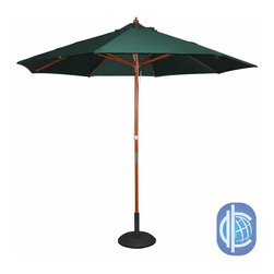 International Caravan - International Caravan Balau Hardwood 9.8-foot 8-ribbed Push-up Umbrella with Pul - Enjoy a relaxing day outdoors while protecting your family from the damaging effects of the sun with this durable patio umbrella. Built from Indonesian Balau hardwood and outdoor fabric, this umbrella will withstand the elements year-round.