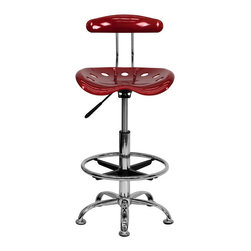 "Flash Furniture - Vibrant Wine Red and Chrome Drafting Stool with Tractor Seat - Quality chair at an amazingly affordable price! This sleek, modern stool conforms to several areas in the home or office. The molded tractor seat offers great comfort. The height adjustable capability of this stool allows you to use the stool at the dining table and bar table and anywhere in between. Enjoy decorating your home with a splash of color for a dramatic look.; Tractor Stool; Wine Red Molded ""Tractor"" Seat; High Density Polymer Construction; 10"" Height Range Adjustment; Pneumatic Seat Height Adjustment; Height Adjustable Chrome Foot Ring; Chrome Frame and Base; Black Plastic Floor Glides; Assembly Required: Yes; Country of Origin: China; Warranty: 2 Years; Weight: 19 lbs; Dimensions: 32 - 40.5""H x 17""W x 16.5""D"