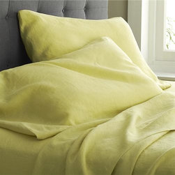Lino Citron Linen Queen Fitted Sheet - Super soft, washed bedding in solid, gorgeous hues spreads the bed in the comforting touch and relaxed, worn-in style of pure linen.