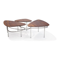 Lounge22 - Ripple Walnut Coffee Table - With retro atomic design, the Ripple Coffee Table is grounded by five metal legs. A ribbon of steel echoes the non-linear nature of the top, while weaving through the base. This table is made to impress and surprise.