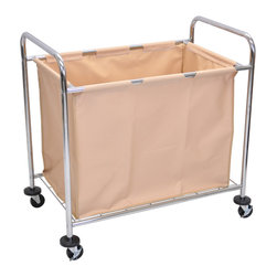 """Luxor - Luxor Janitorial Cart - HL14 - The Luxor HL14 is an industrial laundry cart with sturdy steel frame and canvas with 4 inch casters 36 1/4""""W x 22""""D x 35""""H"""