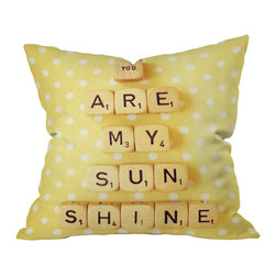 DENY Designs - Happee Monkee 'You Are My Sunshine' Throw Pillow - Sometimes you just have to spell things out. And this charming pillow does it in a way that's sure to put a smile on everyone's faces. The design is repeated on both sides of the woven polyester case, which comes complete with insert. A welcome reminder of your affection, this pillow deserves a place on every bed.