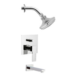 Remer - Round Modern Polished Chrome Shower System - 3 Function tub and shower faucet.