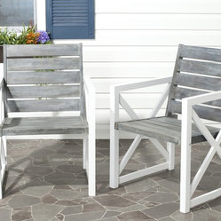 Safavieh - Safavieh Irina White Frame/ Ash Grey Seat Arm Chair (Set of 2) - Take a seat. Crafted with dark grey acacia wood and galvanized steel, the Irina arm chair set offers sleek, modern style--and a warm welcome to any outdoor room.