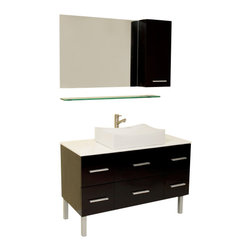 Fresca - Fresca FVN6123ES Distante Espresso Bathroom Vanity With Mirror & Side Cabinet - Fresca FVN6123ES Distante Espresso Modern Bathroom Vanity With Mirror & Side Cabinet