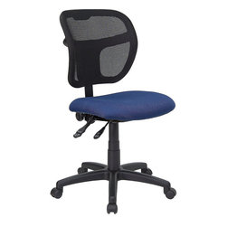 Flash Furniture - Flash Furniture Mid-Back Mesh Task Chair with Navy Blue Fabric Seat - Flash Furniture - Office Chairs - WLA7671SYGNVYGG - Upgrade your standard mesh office chair with this multi-functional version. When you need more adjusting capabilities than your standard office mesh chair this will exceed your expectations. The breathable mesh back keeps you cool when sitting for long periods of time. The firm comfortably padded seat will keep you at ease during work or while leisurely browsing. Whatever your need this chair will perform for you! [WL-A7671SYG-NVY-GG]