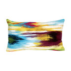 """Trans-Ocean Inc - Ikat Splash Multi 12"""" x 20"""" Indoor Outdoor Pillow - The highly detailed painterly effect is achieved by Liora Mannes patented Lamontage process which combines hand crafted art with cutting edge technology. These pillows are made with 100% polyester microfiber for an extra soft hand, and a 100% Polyester Insert. Liora Manne's pillows are suitable for Indoors or Outdoors, are antimicrobial, have a removable cover with a zipper closure for easy-care, and are handwashable.; Material: 100% Polyester; Primary Color: Blue;  Secondary Colors: green, orange, red, white; Pattern: Ikat Splash; Dimensions: 20 inches length x 12 inches width; Construction: Hand Made; Care Instructions: Hand wash with mild detergent. Air dry flat. Do not use a hard bristle brush."""