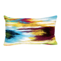 "Trans-Ocean Inc - Ikat Splash Multi 12"" x 20"" Indoor Outdoor Pillow - The highly detailed painterly effect is achieved by Liora Mannes patented Lamontage process which combines hand crafted art with cutting edge technology. These pillows are made with 100% polyester microfiber for an extra soft hand, and a 100% Polyester Insert. Liora Manne's pillows are suitable for Indoors or Outdoors, are antimicrobial, have a removable cover with a zipper closure for easy-care, and are handwashable.; Material: 100% Polyester; Primary Color: Blue;  Secondary Colors: green, orange, red, white; Pattern: Ikat Splash; Dimensions: 20 inches length x 12 inches width; Construction: Hand Made; Care Instructions: Hand wash with mild detergent. Air dry flat. Do not use a hard bristle brush."