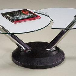 Magnussen Furniture - Swivel Cocktail Table - Modesto - Modesto brings a new twist to contemporary with its fused glass tops, our cocktail even swivels creating a variety of form and functions. The tubular steel posts are wrapped in synthetic black leather. 48 in. W x 28 in. D x 18 in. H