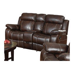 Coaster - Coaster Myleene Leather Double Gliding Love Seat in Brown - Coaster - Loveseats - 603022 - Whether you're having a family gathering or hosting a game night this love seat is sure to make the occasion more enjoyable. The motion piece features plush bonded seating that contrasts beautifully with the baseball stitching for a touch of style. In addition the built-in cup holders as well as the below storage compartment provide convenience. You'll be set with this loveseat in your home.