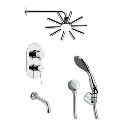 Remer - Sleek Round Contemporary Shower System - Single function tub and shower faucet.