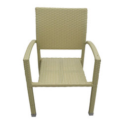 LexMod - Bella Outdoor Stackable Dining Chairs in Tan - Relax in confidence, as you effortlessly unite diverse forces to take center stage. Wealth and success surround you and draw attention to greater heights. This outdoor wicker dining chair has a sturdy aluminum frame covered with an espresso rattan weave.