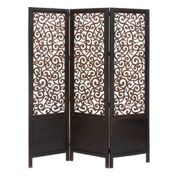 """Benzara - Room Dividers Wood Screen 3 Panel 72""""H, 60""""W - Size: 72 high x 60 wide x 1 depth (inches); Material: Well seasoned quality wood, Varnished to make it long lasting; Color: Black; Attractive; Long lasting; Rust free hinges; Extra width; Not just a divider screen but room decor too"""