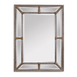 Bassett Mirror - Bassett Mirror Roma Wall Mirror - A patterned, silver leaf frame gives this deluxe oversize mirror an antique look. Hang it in your entryway or powder room and greet your guests with traditional elegance.