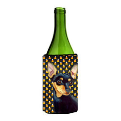 Caroline's Treasures - Min Pin Candy Corn Halloween Portrait Wine Bottle Koozie Hugger - Min Pin Candy Corn Halloween Portrait Wine Bottle Koozie Hugger Fits 750 ml. wine or other beverage bottles. Fits 24 oz. cans or pint bottles. Great collapsible koozie for large cans of beer, Energy Drinks or large Iced Tea beverages. Great to keep track of your beverage and add a bit of flair to a gathering. Wash the hugger in your washing machine. Design will not come off.