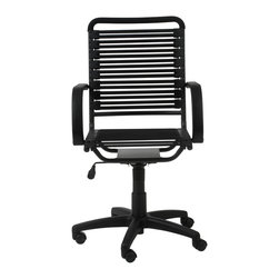 Eurostyle - Bungie Flat High Back Office Chair-Blk/Grblk - It's never fun to be tied to your desk, but at least when you're sitting in this bungee cord-backed beauty, you'll be comfy. A high back and soft armrests will support you through hours of work or study.
