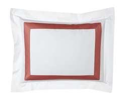 "SFERRA - SFERRA Two Standard Satin-Stitched Pillowcases - A sharp and modern bedding ensemble just right for any room. Sferra takes smooth white Egyptian cotton percale and adds a 2"" wide Egyptian cotton sateen band in your choice of colors. Duvet covers have the band on three sides; shams have the band on a..."