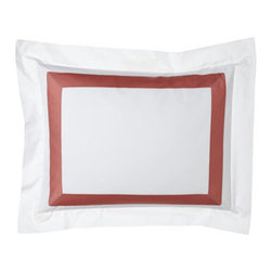 """SFERRA - SFERRA Two Standard Satin-Stitched Pillowcases - A sharp and modern bedding ensemble just right for any room. Sferra takes smooth white Egyptian cotton percale and adds a 2"""" wide Egyptian cotton sateen band in your choice of colors. Duvet covers have the band on three sides; shams have the band on a..."""