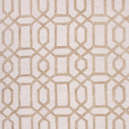 Jaipur Rugs - Modern Geometric Pattern Beige /Brown Wool/Silk Tufted Rug - CT08, 9.6x13.6 - Over scaled sharp geometrics characterize this striking contemporary range of hand tufted rugs. The high/low construction in wool and art silk creates texture and surface interest and gives a look of matt and shine.
