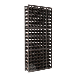 8 Column Standard Cellar Kit in Pine with Black Stain + Satin Finish - Wooden wine storage available in pine or redwood plus many stain and finish options. The best rack for an intermediate collector. This rack stores up to 12 cases of wine in 18 bottle columns. You'll love it. We guarantee it.
