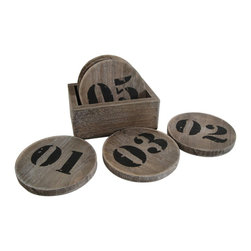 Industrial Coaster Set - Your number's up! This set of distressed wood coasters with spirited numbers printed on them is the perfect place to set your morning mug of coffee. Place them on a glass-topped table in your industrial space for a fun kick.