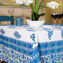 Designer Tablecloths - Southern Nights table cover, a French Country style linen of classic cobalt blue and engaging emerald green on pure white. Hand Block Printed from Attiser