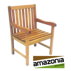 Amazonia - Milano Patio Armchair - Add style and class to your exterior settings with this elegant outdoor patio chair. Made of durable eucalyptus wood,this chair comes in a Polisten finish that seals your garden furniture against water,insect and fungus infestation.