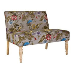 angelo:HOME Bradstreet Settee - Antique Floral Bird - The colorful design of the angelo:HOME Bradstreet Settee in Antique Floral Bird adds a classic touch to any setting. This settee is quality crafted from a sturdy mix of hardwood solids and features a comfortable padded cushion with a fire resistant foam and fiber fill. Wood legs are given an antique finish which complements the colorful pattern. The multi-colored floral bird design attracts the eye and offers hues of grey, blue, violet, cherry red, yellow, and olive green. The Ready to Assemble modular construction lets you get your furniture shipped right to your door and makes it easy to set up in minutes. About angelo:HOME:When he was 6, Angelo Surmelis and his family moved from Greece to the United States. In their new home, 6-year-old Angelo started dragging furniture around, rearranging it. From that early age, he believed that your space - and the way it's arranged - can change the way you feel. This philosophy has landed him on design series on TLC, Lifetime, The Style Network, and HGTV, as well as several different television talk shows. Now, with Angelo's line of furniture and accessories, you can change your space - and the way you feel - quickly and affordably.