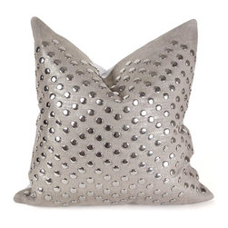 Pfeifer Studio - Metallic Linen StudPillow, 18x18 - This glamorous pillow is created by transferring a thin layer of gold foil onto linen, a technique similar to gold leafing. Artisans then attach silver dome studs onto the linen. Each pillow has a silver leather back, closes with a hidden garment zipper and is fitted with a medium-fill feather and down inner.