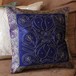 Fun Decorative Pillow Combinations - Combination of (2) Ornamental Embroidered and (1) Hand Painted Pillow Covers from Banarsi Designs.