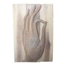 Kammika - Mudra Hand Panel 24 x 36 inch Ht Sust Wood w Eco Friendly Livos Agate Grey Oil F - Our Mudra Hand Sustainable Monkey Pod Wood Buddha Wall Panel 24 inch x 36 inch height in 3D with Eco Friendly, Natural Food-safe Livos Agate Grey Oil Finish is our interpretation of the Mudra, often associated with the walking Buddha. The tip of the thumb touches the tip of the index finger, stimulating knowledge and ability. The Mudra was possibly used as a symbol of good intentions proposing friendship when approaching strangers. Livos Agate Grey oil creates a water resistant, food safe matte finish. These natural oils are translucent, so the wood grain detail is highlighted. The oil makes the wood turn to an antique white look with a light grey patina finish. The light portions turn to shades of beige, and the dark lightens to shades of brown with a light transparent grey top coat over the white antique looking undercoat. There is no oily feel, and cannot bleed into carpets. There are two embedded flush mount Keyhole hangers for a protruding screw from your wall. Carved by craftspeople in Thailand, who spend hours shaping, sanding, and finishing these wonders of wood, each is a work of art. Made of sustainable Monkey Pod wood grown specifically for the wood carving industry, each panel is carved out of joined panels. Variations may occur; but one thing will remain consistent, the beauty and the joy each will bring to you. We make minimal use of electric hand sanders in the finishing process. Dried in solar or propane kilns, no chemicals are used in the process, ever. Packaged with cartons from recycled cardboard with no plastic or other fillers, the color and grain of your piece of Nature will be unique, and may include small checks or cracks that occur when the wood is dried. Sizes are approximate. Products could have visible marks from tools used, patches from small repairs, knot holes, natural inclusions or holes. There may be various separations or cracks on your piece when it arrives. There may be some slight variation in size, color, texture, and finish.Only listed product included.