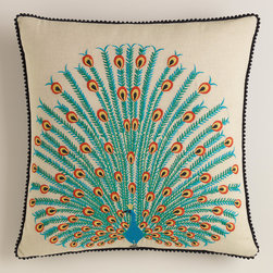 Peacock Throw Pillow - I'd be proud as a peacock to have this little lovely. That image is fantastic!