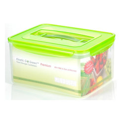 Kinetic - 237 oz. Plastic Food Storage Container w Silicone Sealed Lid - Kinetic Go Green Premium. 237 oz. Rectangle storage container. Silicone sealed locking lids. BPA-free plastic food storage. The Kinetic preservation technology helps food stay fresh up to three times longer for maximum freshness and superior spoilage prevention.. Keeps your foods fresher up to 3 times longer than conventional plastic food storage. Airtight and watertight silicone seal. Refrigerator and freezer-safe. Microwave-safe without the lids. Top rack dishwasher-safe. Clear body with green lid