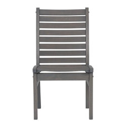 Mendocino Side Chair - Civilized outdoor entertaining at an inviting price. Slatted construction in solid eucalyptus timber with a warm grey stain and galvanized steel hardware. Chair features comfortably angled back and seat. To maintain the original color, apply clear linseed oil.