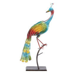 "Benzara - Beautiful Metal Peacock with Dazzling Beautiful Colors - This metal peacock is mounted on a solid, flat base and is shown perched on a polished, slender tree branch. The dazzling finish on this peacock decor piece perfectly highlights the assorted colors and gradient color detailing on the peacock feathers. You can add a dash of color and verve to your simple room settings with this elaborately designed Metal Peacock. Crafted from top quality metal, this decor piece is designed in the shape of a peacock and is lavished with attractive colors. With its solid metal construction, this decor piece is high on durability and is also resistant to easy wear. This metal decor piece is perfect for decorating side tables or console tables and can also be used to lend a vivacious touch to simple bedroom setups.; High on durability and resistant to easy wear; Crafted from top quality metal; Peacock is perched on a tree branch; Add a dash of color and verve; Weight: 3.31 lbs; Dimensions:13""W x 6""D x 35""H"