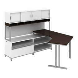 """Bush - Bush Momentum Left-Hand Dog-Leg Right Desk with Hutch in Mocha Cherry - Bush - office Sets - MOM060LMR - Contemporary open architecture design fosters teamwork. Bush Momentum enables supports and inspires creativity. It's modular furniture in step with today's evolving office environments. Bush Dog Leg Right LH L-Desk works as an additional element for collaborative workspaces or as a starter package. Dog Leg Right L-Desk lets you spread out comfortably in two directions. Easily reconfigurable 36""""W Open Storage case goes anywhere. Adds extra flexibility with one full-width fully adjustable shelf for reference materials and odd-size manuals. 36""""W Piler/Filer cabinet combines a cubby/pullout storage shelf and a file drawer providing greater versatility. Discreet file drawer lock also secures the pullout shelf. 72""""W Overhead w/Doors includes open work-in-process compartments. Sliding door compartments accommodate reference storage. All file drawers have full-extension ball-bearing slides that make it easy to reach the back. Adjustable levelers compensate for uneven floors. Rugged Diamond Coat finish on all work surfaces resists stains and scratches. Includes Bush Limited Life Time warranty."""