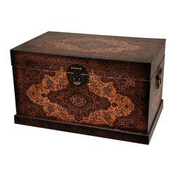 Oriental Unlimted - Olde-Worlde Baroque Storage Box - Solidly crafted wood crafted storage trunk. Covered with high quality faux leather for beauty and durability. Beautiful old world style European decorative medallion design. Over-all: 18.5 in. W x 12 in. D x 10.75 in. H (10 lbs.). Inside: 17.5 in. W x 11 in. D x 7.5 in. H