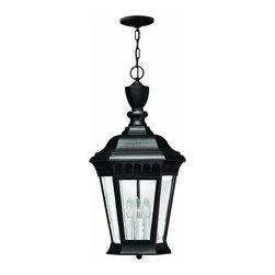 Hinkley Lighting - 1702BK Camelot Outdoor Hanging Lantern, Black, Clear Beveled Glass - Traditional Outdoor Hanging Lantern in Black with Clear Beveled glass from the Camelot Collection by Hinkley Lighting.
