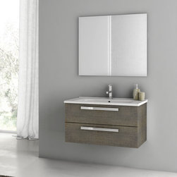 ACF - 33 Inch Grey Oak Bathroom Vanity Set - Set Includes:. Vanity Cabinet (2 Drawers). High-end fitted ceramic sink. Wall mounted vanity mirror. Vanity Set Features . Vanity cabinet made of engineered wood. Cabinet features waterproof panels. Vanity cabinet in grey oak finish. Cabinet features 2 soft-closing drawers. Faucet not included. Perfect for modern bathrooms. Made and designed in Italy. Includes manufacturer 5 year warranty.