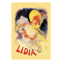 "Buyenlarge.com, Inc. - Lidia - Fine Art Giclee Print 16"" x 24"" - Known as the father of the modern poster, Jules Cheret (1836 - 1932) was a French painter and lithographer. He worked on everything from theater to advertising. Using only her last name Lily de Lidia graced some of the most popular music-hall stages of the day with her 'gommeuse' (double-jointed) act. This poster announces Lidia's appearance at the outdoor Alcazar d'Ete. Cheret depicts the artiste in a half-length view that's rare for him. Her expression is winsome, the creamy expanse of her decolletage appealing, and the overall design full of movement, from the sweeping ribbons of her hat to the swaying letters of her name."