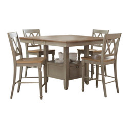Liberty Furniture - Liberty Furniture Al Fresco 6 Piece 54 Inch Square Counter Height Set w/ Server - Al Fresco or dining in the outdoors brings to mind an open air natural feel. Al Fresco Casual Dining is a fresh approach to a casual rustic style. Two tone finish with tops of the tables in driftwood and the base in a taupe finish. Tops feature planked design with round/square peg accents. Tapered block legs carry the casual rustic theme of the group. Butterfly leaf square counter table has a pedestal storage base with a storage drawer and top shelving. What's included: Counter Height Table (1), Counter Height Stool (4), Server (1).