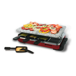 Swissmar - Swissmar - 8 Person Red Classic Raclette Party Grill w/ Granite Stone - Swissmar - 8 Person Red Classic Raclette Party Grill w/ Granite Stone - KF-77045   A tradition from Switzerland, raclette dinners are fun for everyone. This red enamelled stainless steel raclette party grill features an easy care granite stone grill top that's perfect for grilling meats, shrimp, and veggies. Variable heat control and 1200 watts for fast heating. Includes 8 heat-resistant spatulas and raclette dishes.