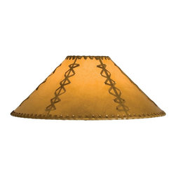 Meyda Tiffany - 15 in. Hexagon Replacement Shade - Includes spider for use on a small lamp. Trimmed with leather like lacings. White fabric lining for added light reflection. Made from faux leather. Tan color. 15 in. W x 8 in. H