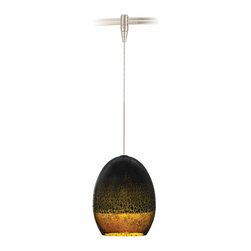 "Tech Lighting - Silver Glaze Brown Nickel LED Tech Lighting MonoRail Pendant - Hand-blown transparent glass is highlighted with a brilliant silver glaze and topped with metal detail in this pendant design. The look is artistic and beautiful and each one will be unique due to the hand-crafted process. This fixture includes a connector to the low-voltage Tech Lighting MonoRail system. With its hand-bendable rail the MonoRail system has the flexibility to light even the most difficult spaces. Satin nickel finish. Hand-blown glass with silver glaze. Includes connector for Tech Lighting MonoRail system. Includes six feet of field-cuttable suspension wire. Includes one replaceable 6 watt LED module. Comparable to a 40 watt incandescent bulb. 3000K color temperature. Light output is 360 lumens. Glass is 6 3/4"" high 5 1/4"" wide. Price is for one MonoRail pendant. See below for complete MonoRail system.  Satin nickel finish.  Hand-blown glass with silver glaze.  Includes connector for Tech Lighting MonoRail system.  Includes six feet of field-cuttable suspension wire.  Includes one replaceable 6 watt LED module.  Light output is 360 lumens.  Comparable to a 40 watt incandescent bulb.  3000K color temperature.  Glass is 6 3/4"" high 5 1/4"" wide.  Price is for one MonoRail pendant.  See below for complete MonoRail system."