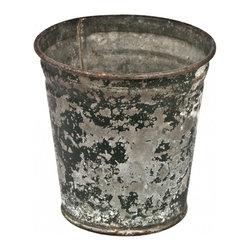 Flower Bucket - Green - Small vintage galvanized zinc flower bucket with distressed green paint finish.