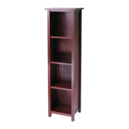 Winsomewood - Milan Storage Shelf or Bookcase 5-Tier, Tall - This spacious shelf is ideal for displaying your treasure or storage your books. Simple and elegant design is a perfect additional to any home. Add baskets to create a new function and look for the shelf. Made of combination of solid and composite wood in antique walnut finish. Assembly required.