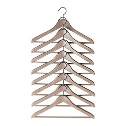 Bumerang Curved Clothes Hanger, Gray/Brown, Set of 8 - You can't beat Ikea prices for great goods. Pick up an eight pack of stylish wooden hangers for only $4.99. Using these instead of plastic or metal versions is not only better for your clothes, but prettier on the eye as well.